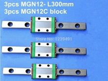 3pcs 12mm linear rail guide MGN12- L300mm with 3pcs mini MGN12C linear block kossel mini for 12mm linear guide mgn12 l 300mm linear rail mgn12c long linear carriage for cnc x y z axis 3d printer part