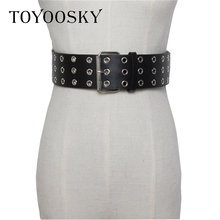 2019 Fashion Women Belt Hollow Punk Hip-hop Black Wide Square Pin Buckle Waist For Ladies Luxury Brand Designer TOYOOSKY