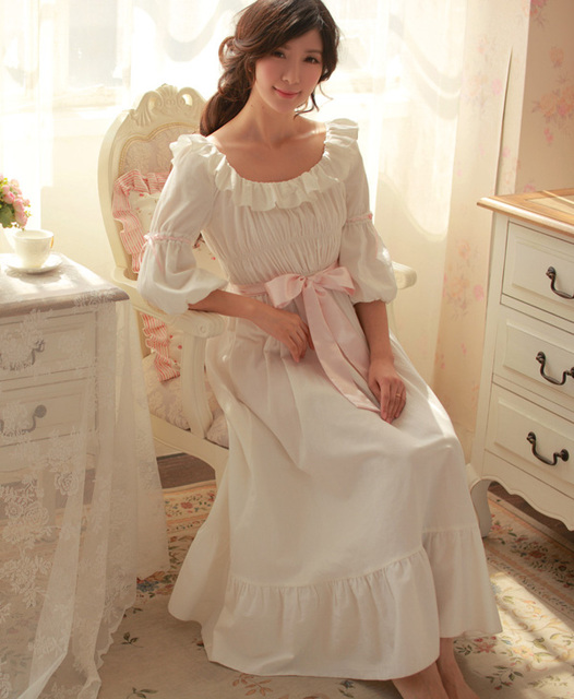 Free Shipping 100% Cotton Princess Nightdress Royal Pijamas Long White  Nightgown Women s Sleepwear Ladies pijamas 9014750b7