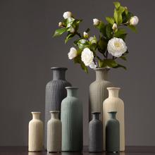 Europe Ceramic Vase stripe Crafts furnishings Nordic home decoration Dried flower vase accessories modern