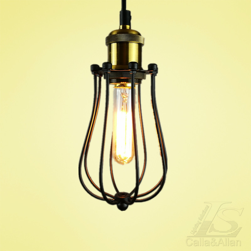 What Height Is Right To Hang A Pendant Light: Black Vintage Hanging Light Caged Pendant Light Height