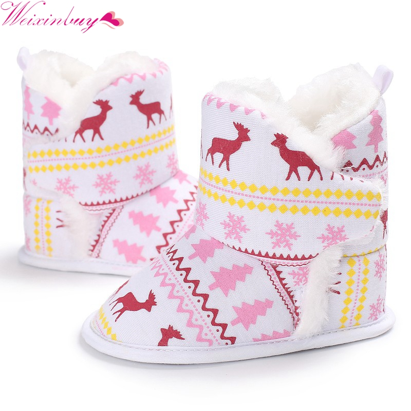 Warm Winter Autumn Newborn Boys Girls Vintage Xmas Pattern First Walkers Cotton Toddler Cack Baby Shoes