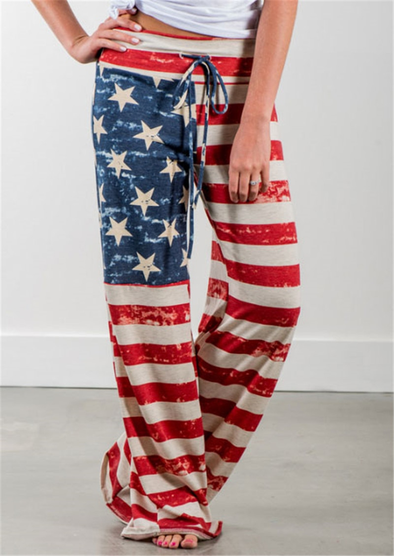 New Women Fall Fashion Ladies Hot Female Usa Flag America Elegance Womens Style Pants Wide Leg Pants Flare Pant