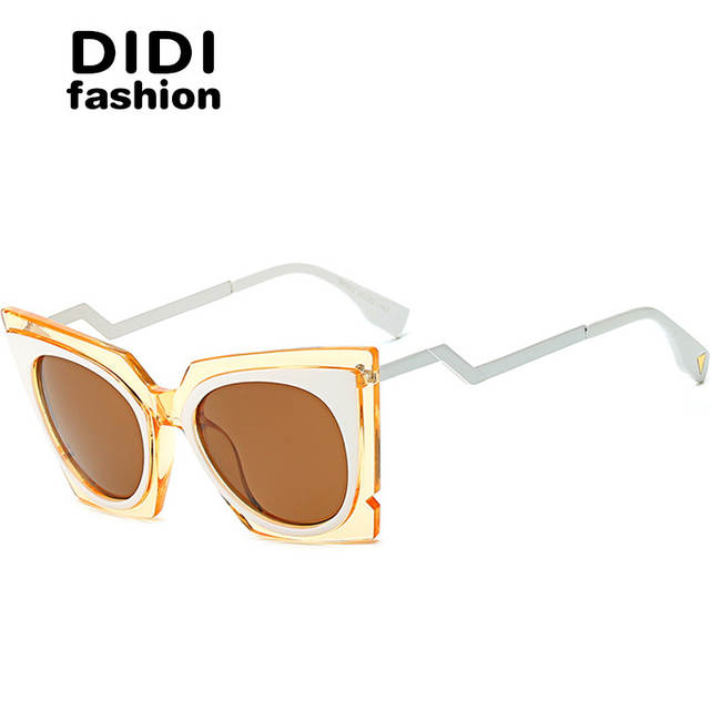 44cf2cc6c731 DIDI 2017 Steampunk Cat Eye Sunglasses Women Twisted Triangle Street Glasses  Clear Frame Circle Lens Celebrity