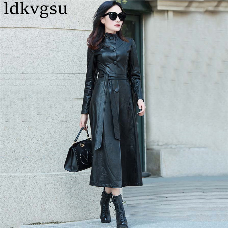 XS 8XL kobiet czarny Maxi Pu płaszcz skórzany wiosna jesień Plus rozmiar pojedyncze łuszcz PU skórzana długi wykop płaszcz wiatrówki v330 w Trencze od Odzież damska na  Grupa 3