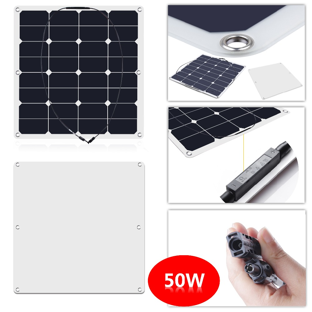 50W 16V 23.5% Efficiency Sunpower Semi Flexible Solar Panel made of back-contact cells, for a motorhome, caravan, campervan, rv