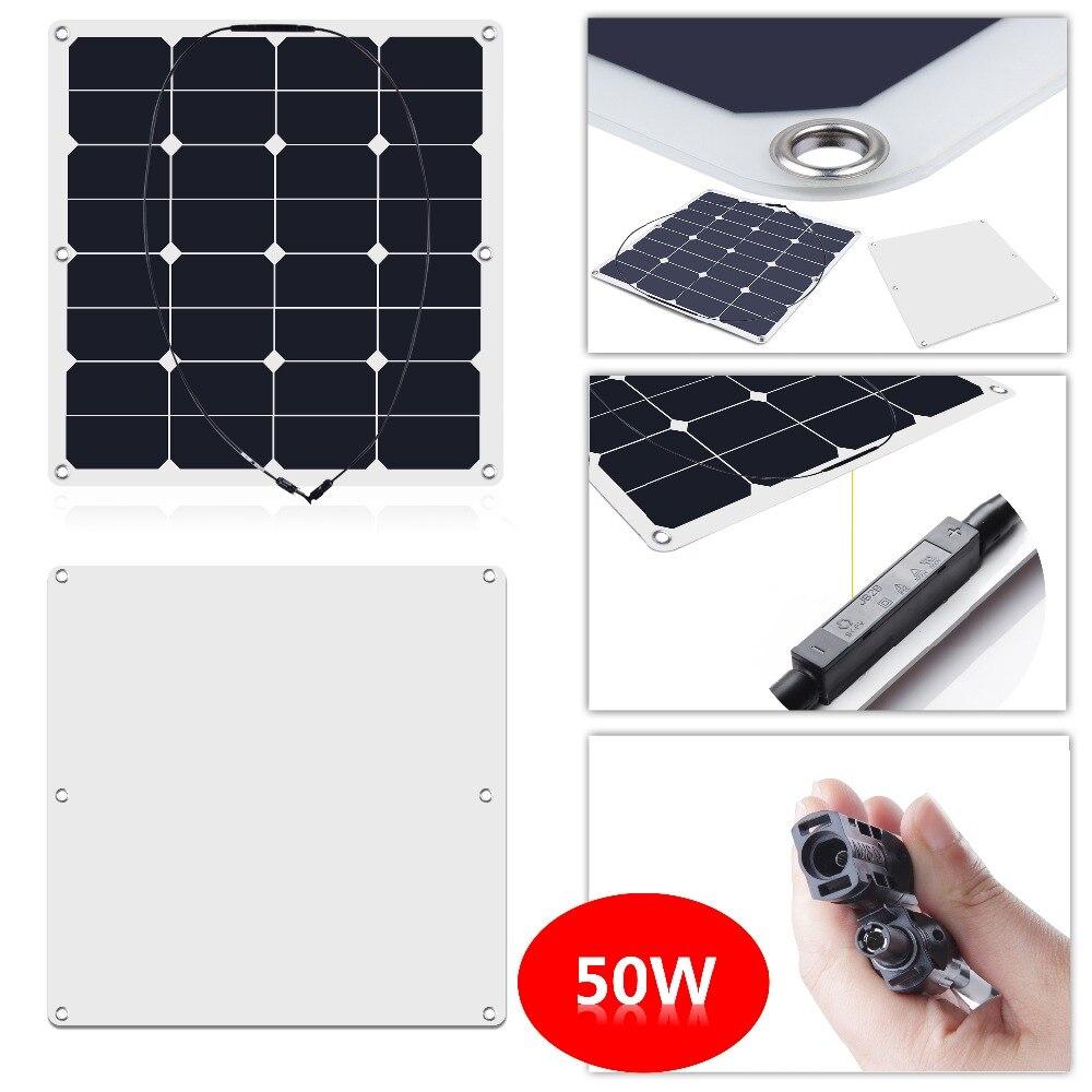 50W 16V 23.5% Efficiency Sunpower Semi Flexible Solar Panel made of back-contact cells, for a motorhome, caravan, campervan, rv