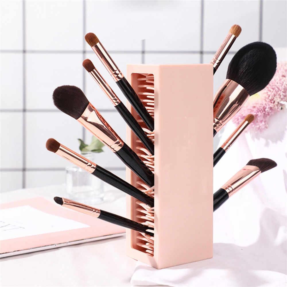 Makeup Brush Lipstick Storage Box Silicone Eyeshadow Brush Drying Rack Beauty Cosmetic Organizer Tool