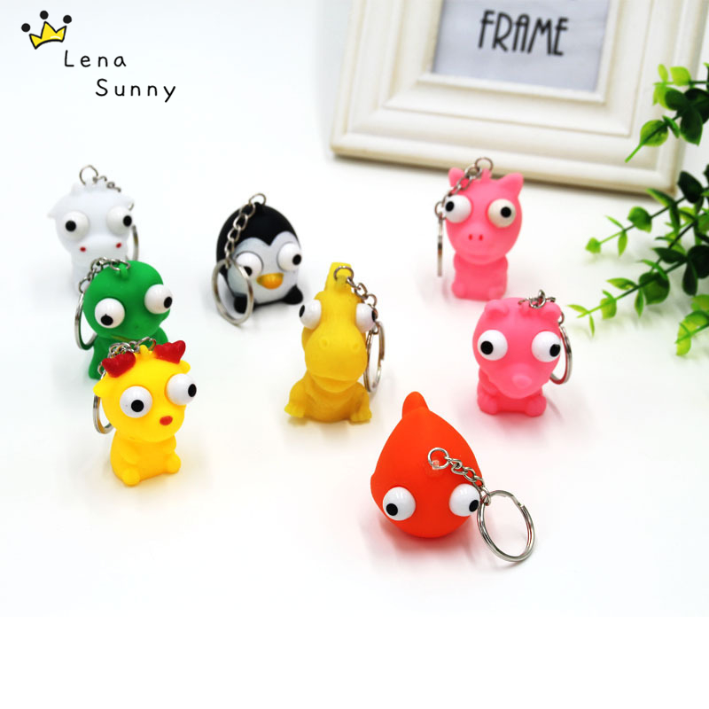 Bag Parts & Accessories Sunny 1pcs Accessories Random Animal Anti Stress Ball Fun Antistress Extruding Big Raised Eyes Doll Squeezing Pandent For Bag