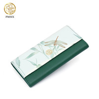 PMSIX 2017 Luxury Brand New Women Leaf Hasp Wallet Fashion Long Leather Coin Purses Card Holders