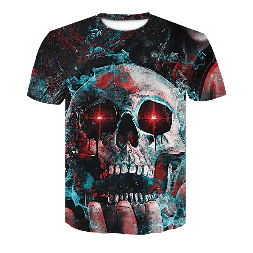 Summer Cool Men's T-shirt 3D printing palms and skulls European and American fashion short-sleeved T-shirts Fast drying Tops