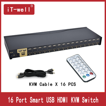 KVM Switch 16 Port hdmi switch  Auto Scan 1080P HDMI switch PC Monitor Keyboard Mouse Switcher for Computer Laptop DVR NVR Xbox