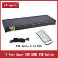 USB HDMI KVM Switch 16 Port Auto Scan 1080P 3D,HDMI switch PC Monitor Keyboard Mouse Switcher for Computer Laptop DVR NVR Xbox