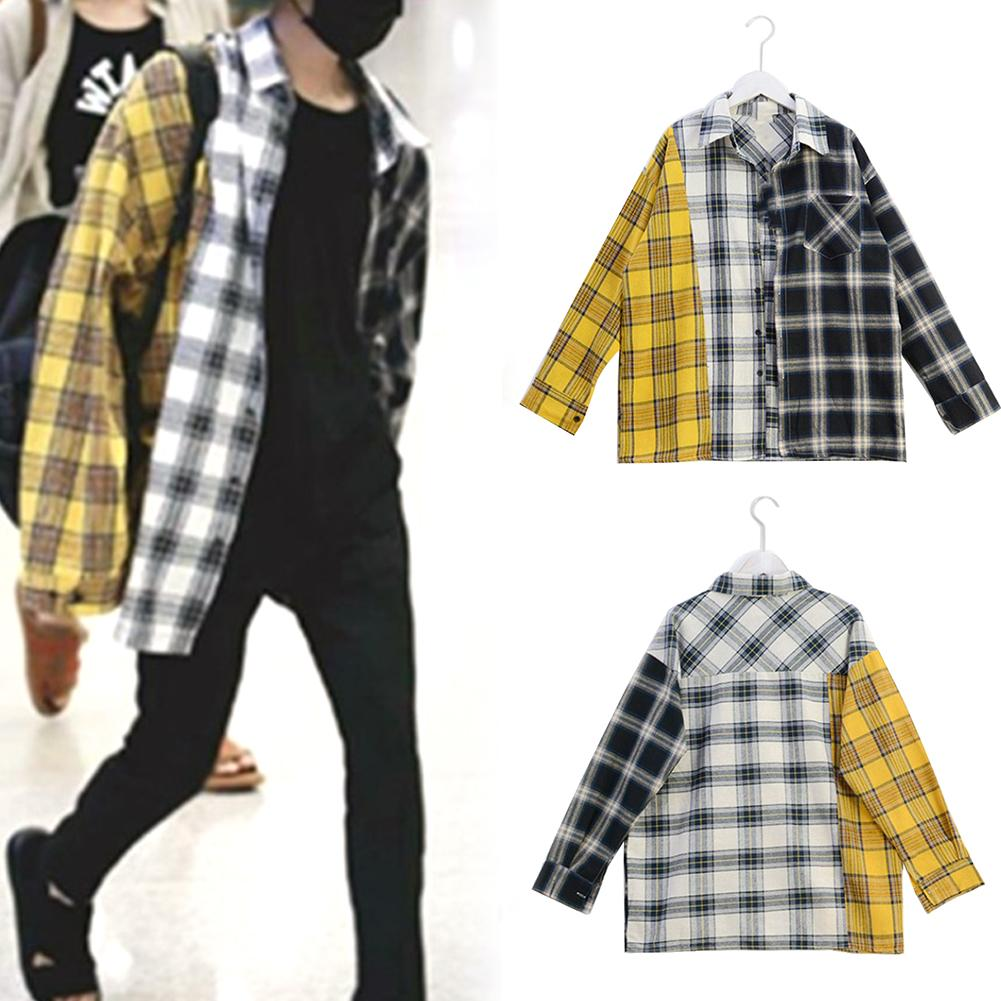 2020 Fashion Style Spring Autumn Women Casual Shirt Linen Tricolor Plaid Print Turn Down Collar Female Loose Long Sleeve Shirt
