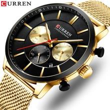 Curren moda relógio masculino à prova dwaterproof água esporte relógios para homem banda de malha aço inoxidável relógio de quartzo relógio de negócios casual relógio de pulso