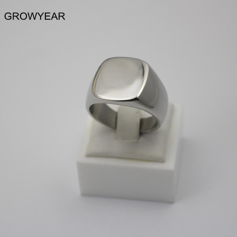 Factory Make Your Own Logo Design Stainless Steel Rings Anniversary Party Finger Ring Plain Silver Square Ring For Women Mens