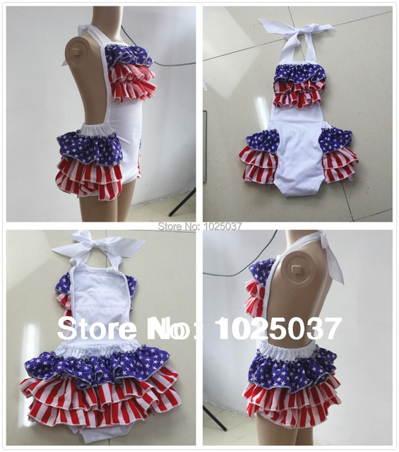 ed89aed6b2b 4th Of July Baby Bubble Romper Ruffled Baby Rompers Kids Jumpsuit Baby  Girls Boutique Clothing Toddler