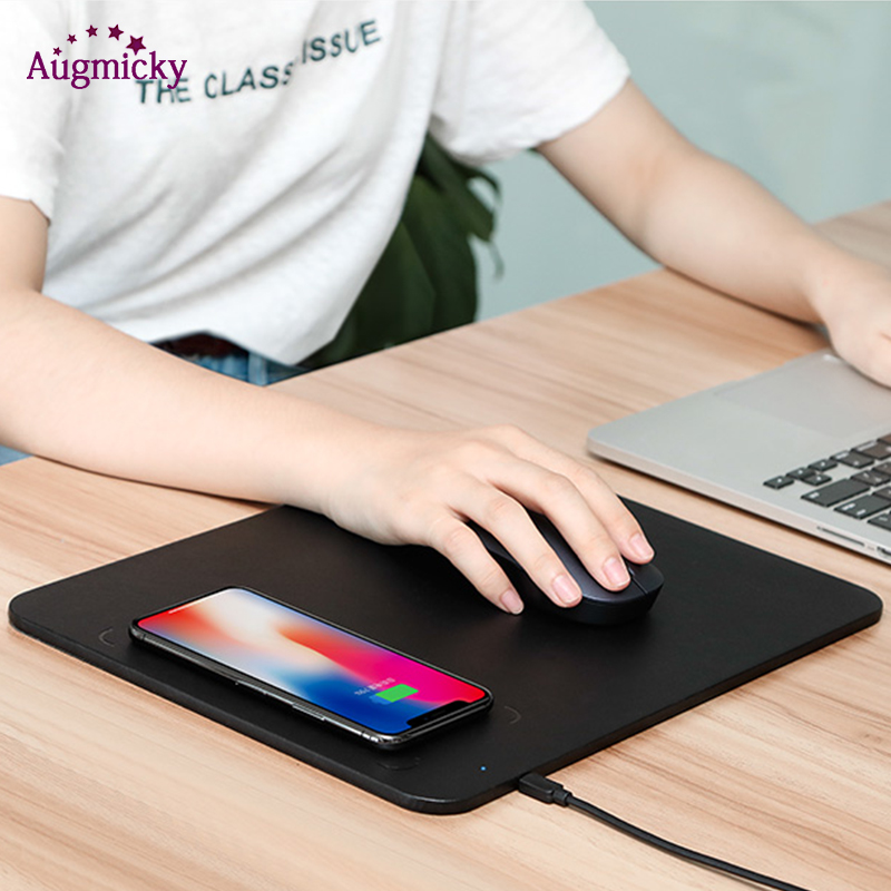 2019 USB2.0 5V/9V QI Mobile Phone Wireless Charger Fast Charging Mouse Pad Mat PU Leather Mousepad For IPhone X/8Plus Samsung S9