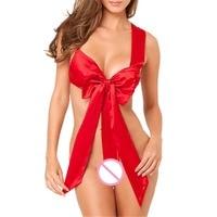 Christmas Gift Women Sexy Lingerie Bowknot Teddies Babydoll Sleepwear TB-0980