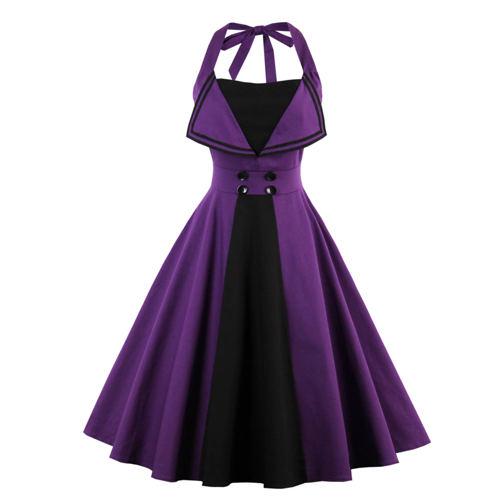 2017 New Summer Dress 50 s Style Halter Vintage For Women Plus Size Party Feminino Rockabilly