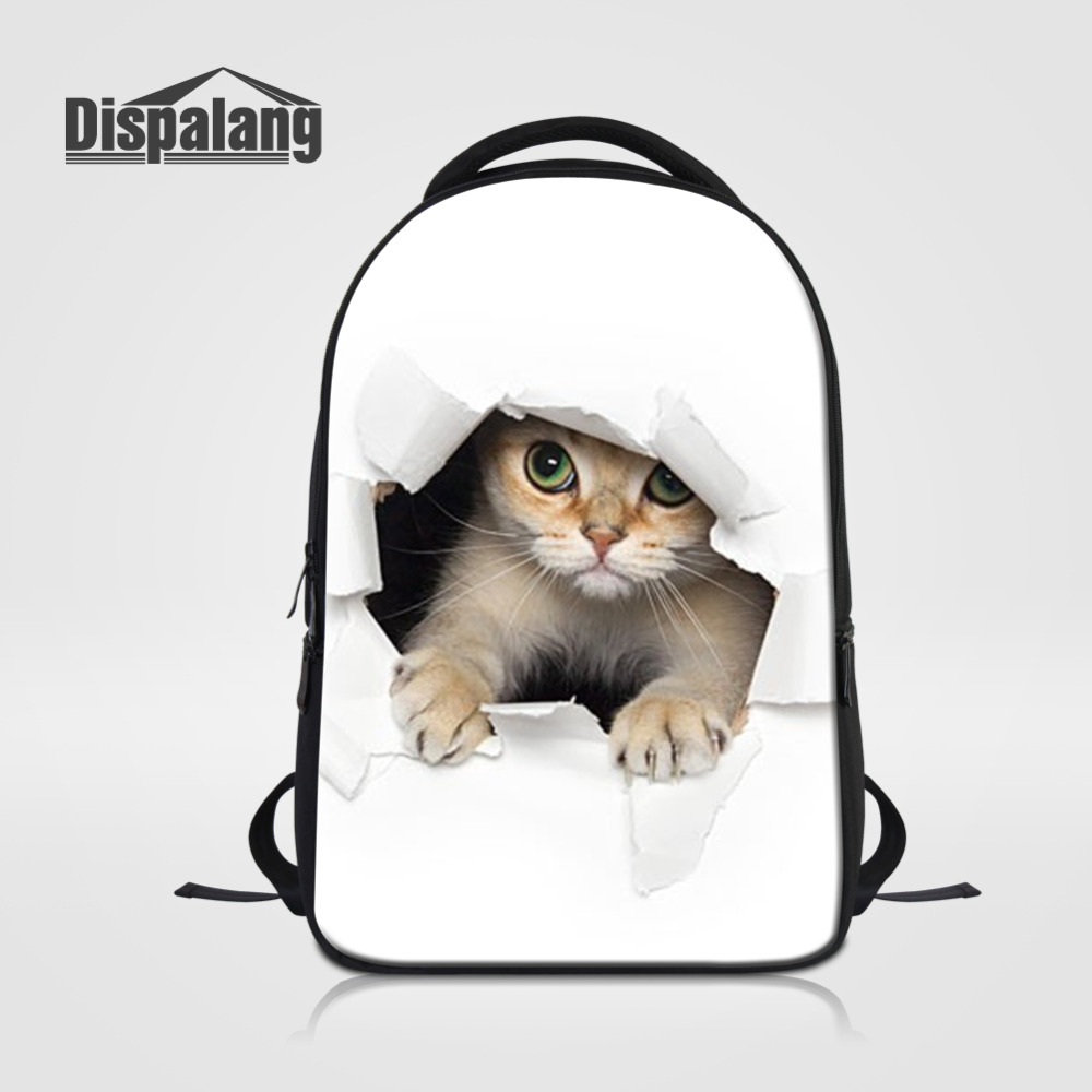 Dispalang Women's Backpacks Animal Printing Kids School Bag Cute Cat Dog Rucksack Casual Travel Bag Men's Laptop Backpacks cute 18 inch animal cat dog printing