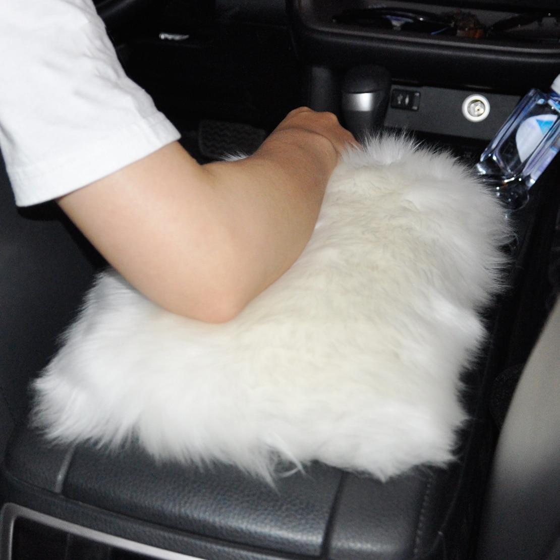 DWCX voiture SUV Console centrale accoudoir en peau de mouton laine boîte housse coussin tapis souple pour VW Audi Ford Toyota Chevrolet Peugeot Kia