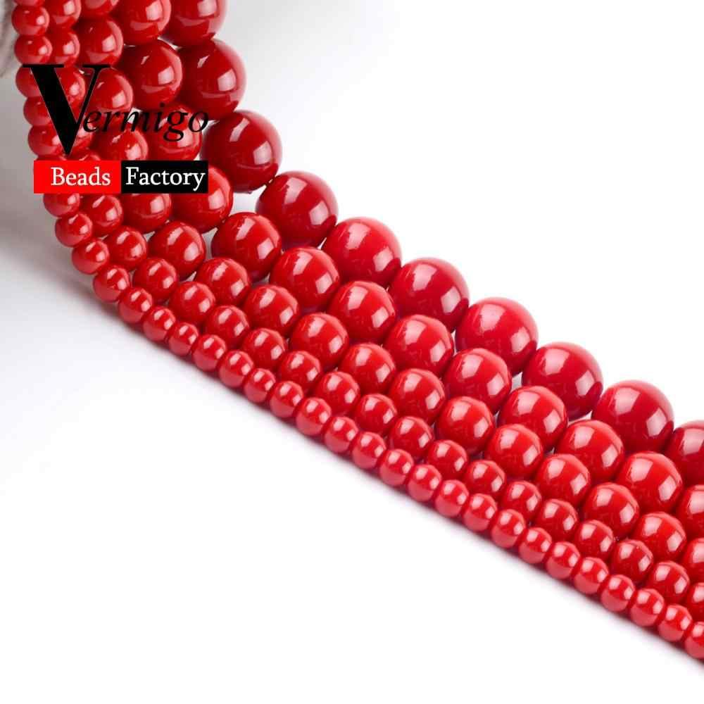 """Darmowa wysyłka koraliki z naturalnego kamienia ciemno czerwony koral okrągły urok luźne koraliki do tworzenia biżuterii 4mm-12mm Pick rozmiar Diy bransoletka 15"""""""