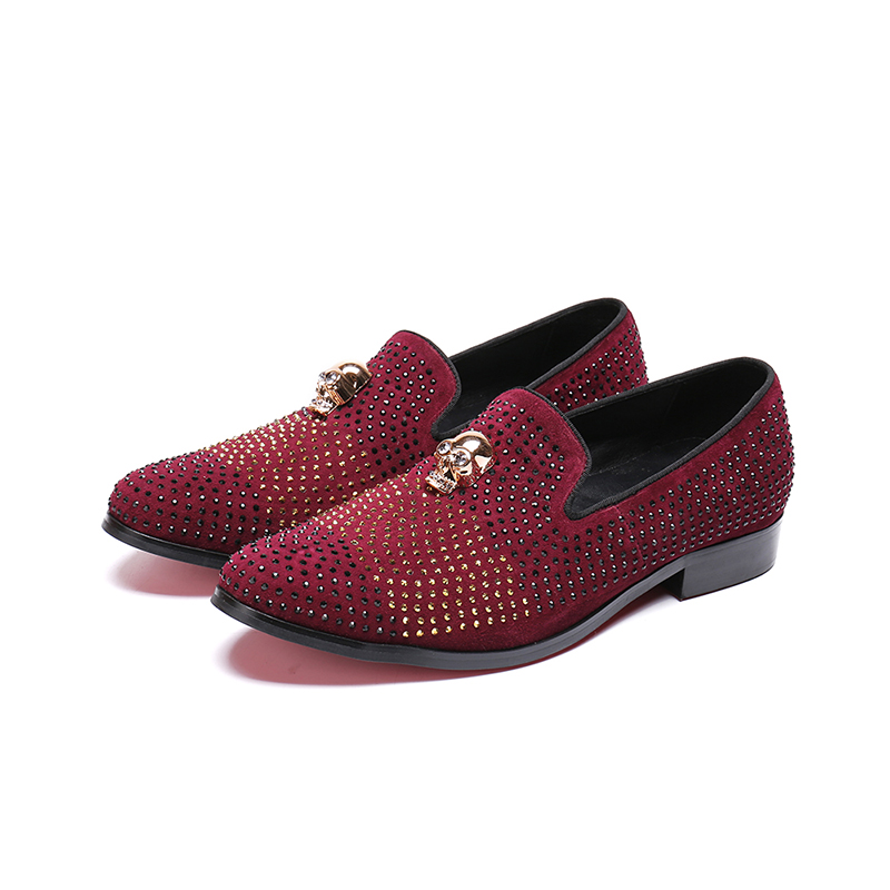 Batzuzhi Fashion Men Shoes Wine Red Rhinestones Crystal Casual Leather Shoes Men Flats mocassin homme Pointed Business and PartyBatzuzhi Fashion Men Shoes Wine Red Rhinestones Crystal Casual Leather Shoes Men Flats mocassin homme Pointed Business and Party