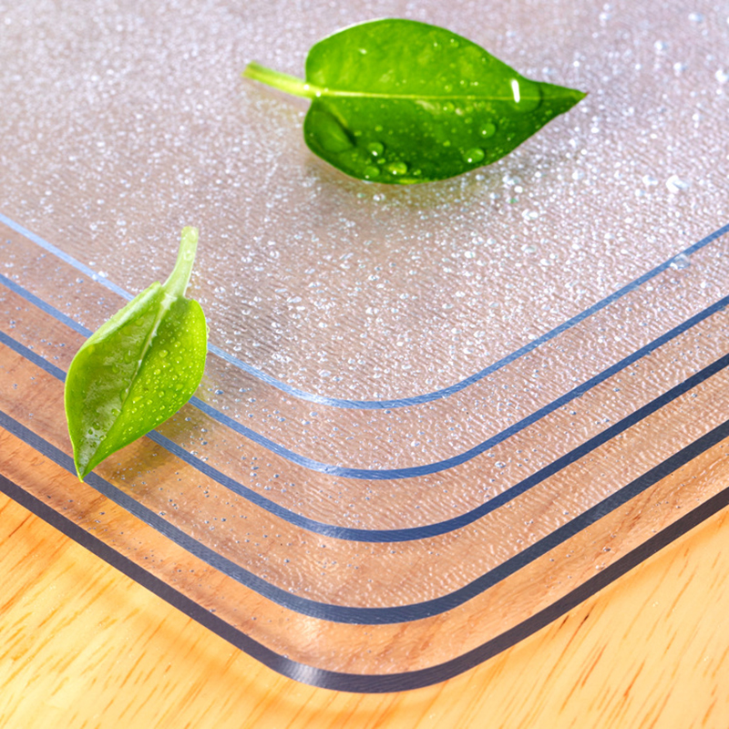 Slow Tree Soft Glass Tablecloth Transparent PVC Tablemat Waterproof Oilproof Kitchen Dining Place Mat 1.3mm 1.6mm 2mm 3mm