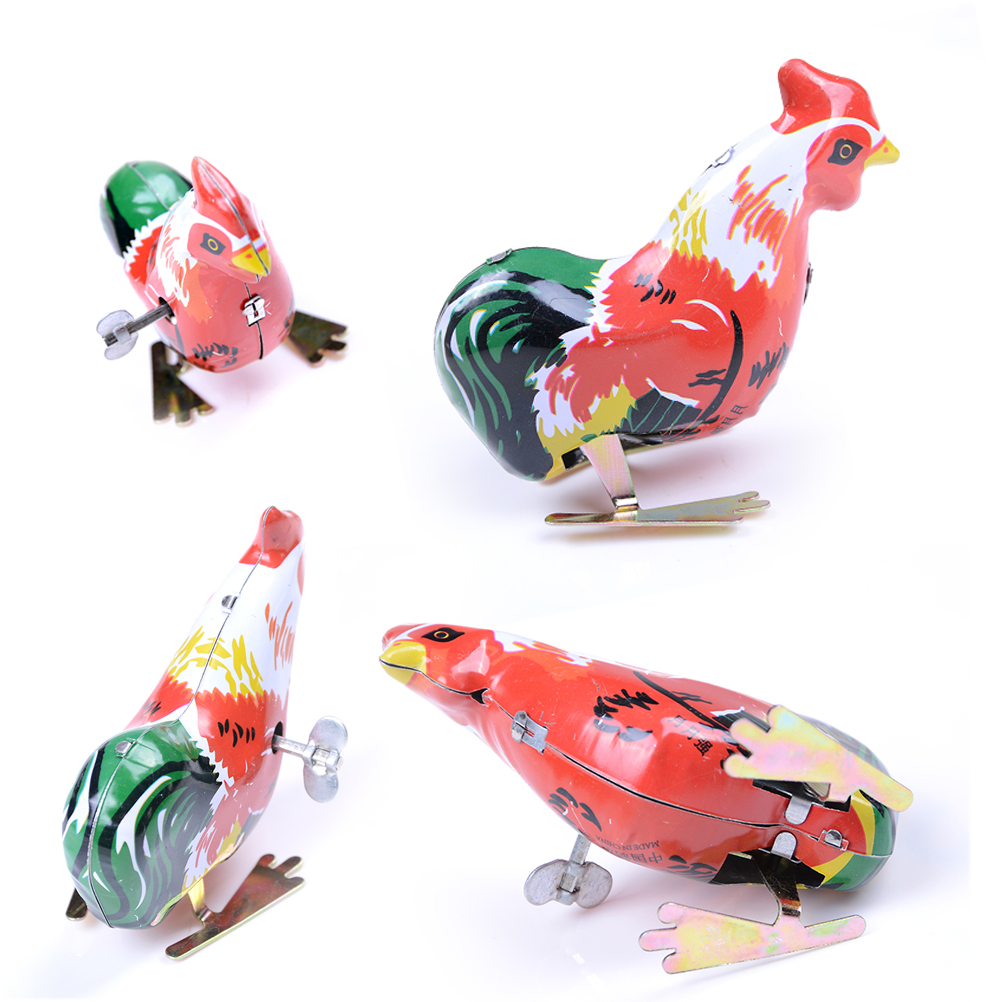 1pc Children Funny Wind Up Cock Rooster Tin Toys Vintage Clockwork Perfect Collectable Gift Kids Classic Toys