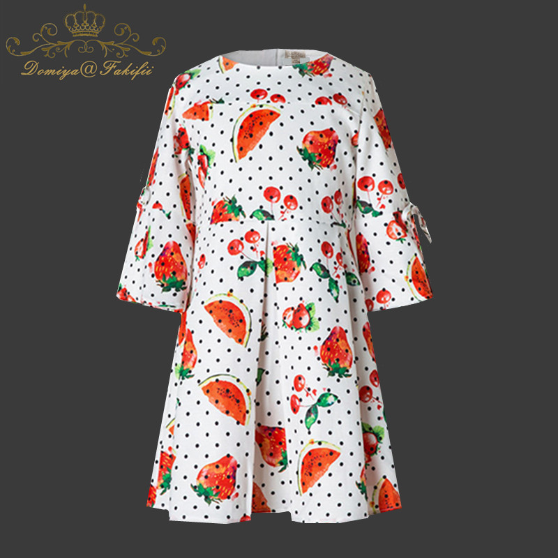 все цены на Long Sleeve Dress Girls Clothes 2018 New Brand Winter Kids Dresses for Girls Watermelon Print Princess Dress Children Clothes
