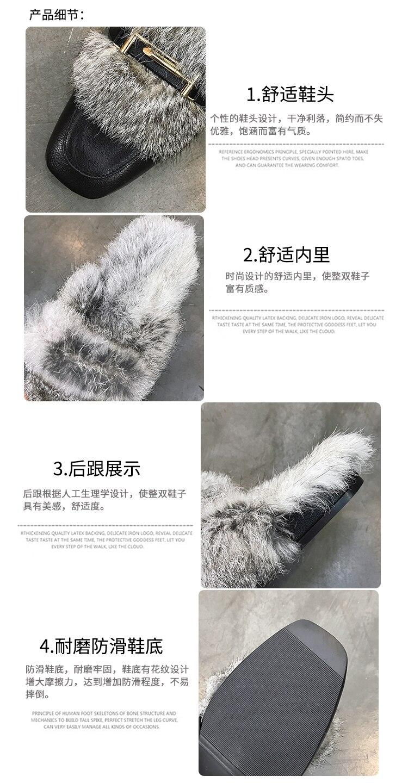 aa64d6230e6 Buckle Strap Fur Slides Women Short Plush Mules Shoes Lady Furry ...
