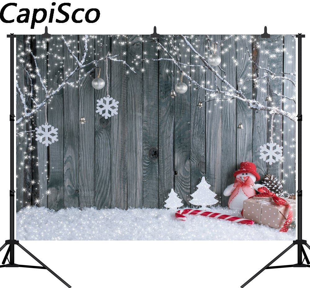 Capisco photographic background Christmas snowman gray woodwall snowflake backdrop photocall new photobooth vinyl photography цена