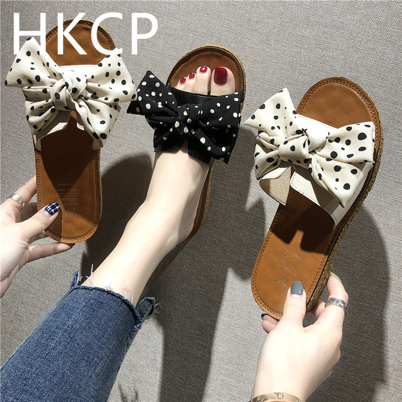 HKCP Fashion 2019 new summer flat bottom flat bottom slippers female non-slip beach shoes bow slippers C467HKCP Fashion 2019 new summer flat bottom flat bottom slippers female non-slip beach shoes bow slippers C467