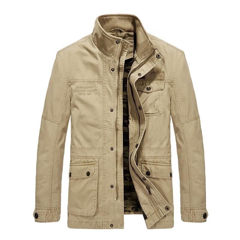 Erkek Kıyafeti'ten Ceketler'de Yüksek kaliteli moda hombre 2018 orta uzun ceket erkekler pamuk marka AFS JEEP ordu ceket erkekler rahat erkek ceket blouson homme 5XL 6XL'da  Grup 3
