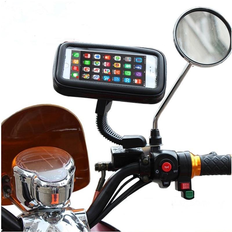 Цена за Телефон владельца мотоцикла зеркало заднего вида держатель мобильного телефона Водонепроницаемый сумка для iPhone 6 plus чехол для iPhone 7 плюс