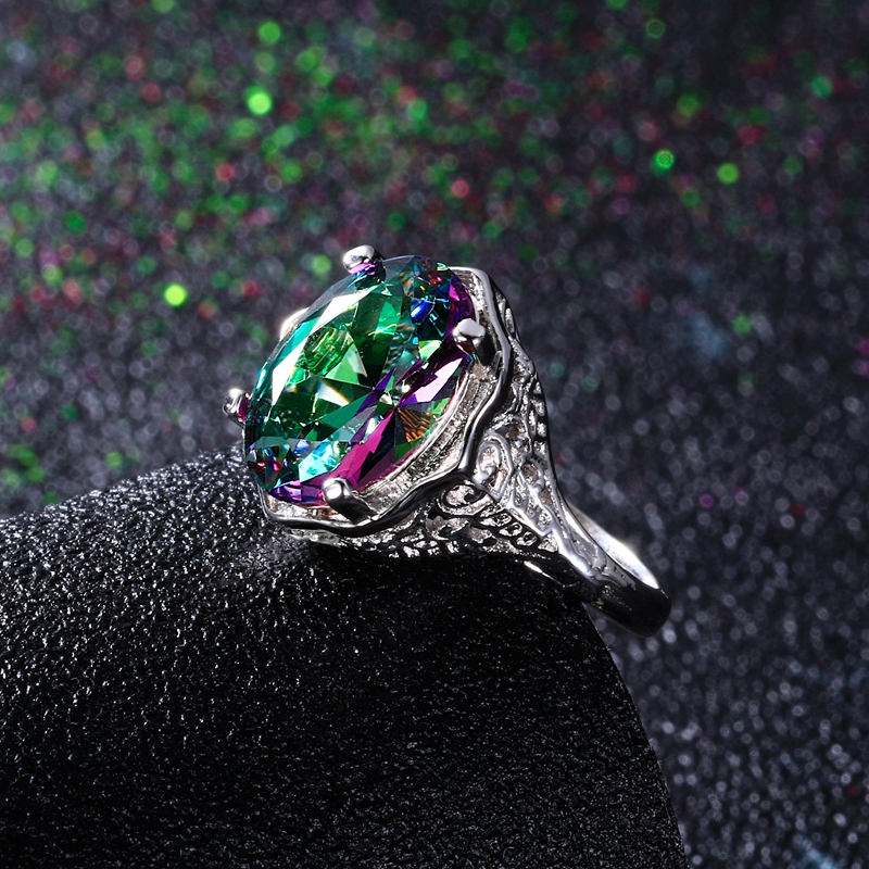 High Quality Genuine Rainbow Fire Mystic Topaz Ring Solid 925 Sterling Silver Jewelry Best Gift For Women Fine Jewelry Wholesale in Rings from Jewelry Accessories