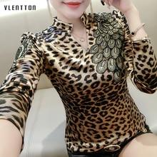 2019 New Vintage Womens Blouses Embroidery V-Neck Slim Leopard Blouse Female Spring autumn Long sleeve Plus Size Woman Shirt