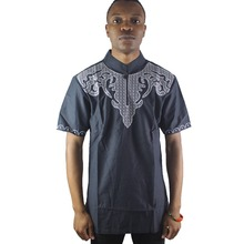 Africa Navy Blue Front and Back Embroidered Men`s Caftan Tops Male Cotton Ethnic Shirts for Summer Wearing