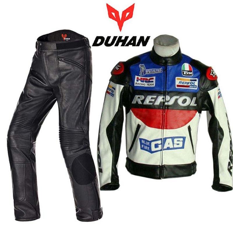 2017 модные костюмы для мотогонок DUHAN, куртка, штаны, мотоциклетные костюмы, куртки, брюки, одежда для мотогонок из искусственной кожи