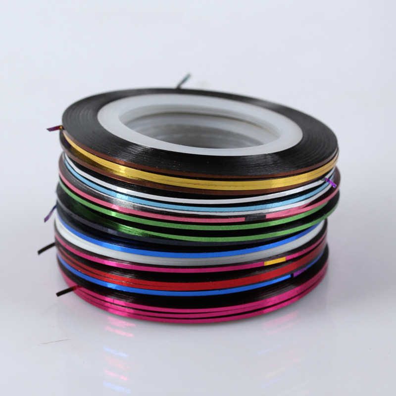 10pcs/18pcs/30pcs Roll Nail Art Gold Silver Stripping Tape Line Strips Decor Tools 0.5mm 20m Nail Sticker DIY