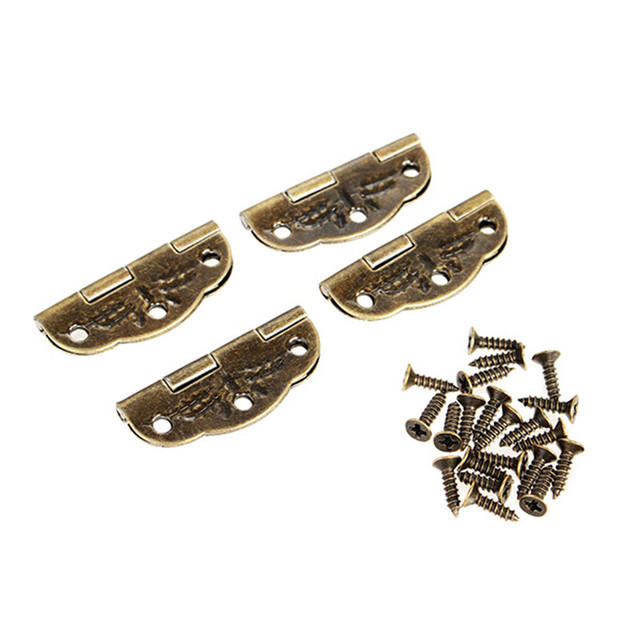 4pcs Jewelry Box Hinge Antique Hinge Packaging Accessories Oval Hinge  Surface Mounted Olive Hinge 6 Hole