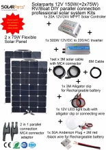 Solarparts 1x150W Professional DIY RV/Boat/ Kits Solar Home System 2x75W PV flexible solar panel MPPT controller Inverter LED