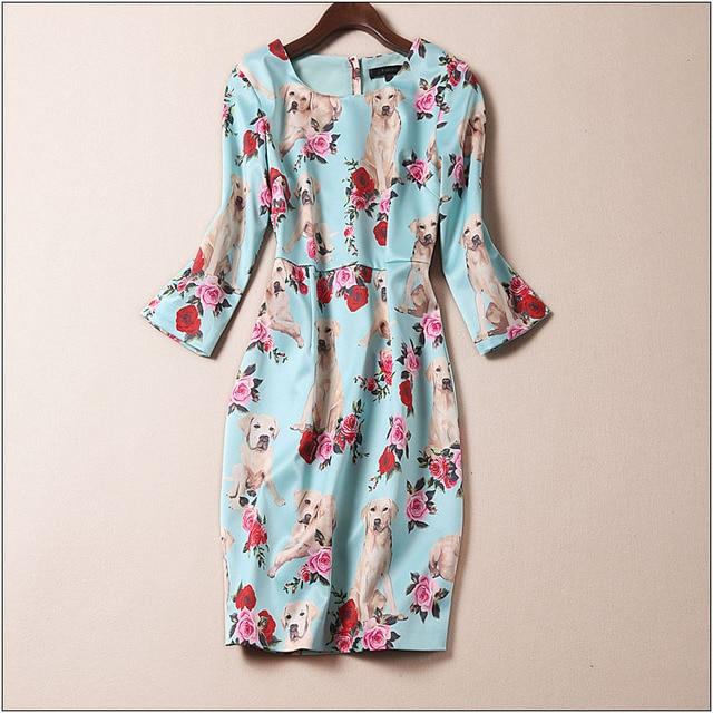 dc1bc8ce83 Novelty Dog Print Women Dress Cute Animal Print Long Sleeve Dresses ...