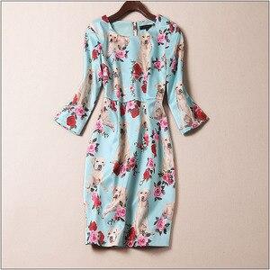 Nowość pies drukuj kobiety sukienka Cute Animal Print sukienki z długim rękawem