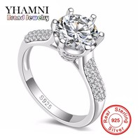 YHAMNI Luxury Original Silver Wedding Rings For Women Set 2 Carat SONA Cubic Zirconia Engagement Rings