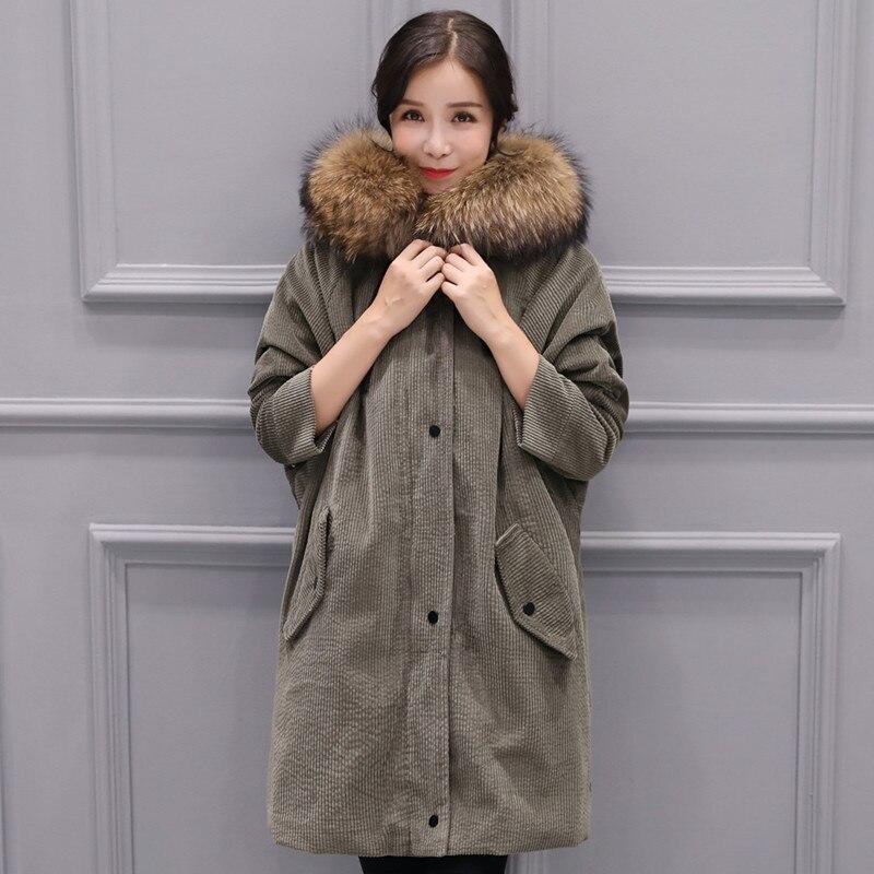 2017 Winter New Corduroy Fabric Down Jacket Detachable Liner Big Raccoon Fur Collar Women Down coats Snow Outerwears Parkas