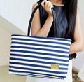 AMN001  Women bags 25*40*11cm Hand woven striped canvas shoulder bag leisure big bag women handbags