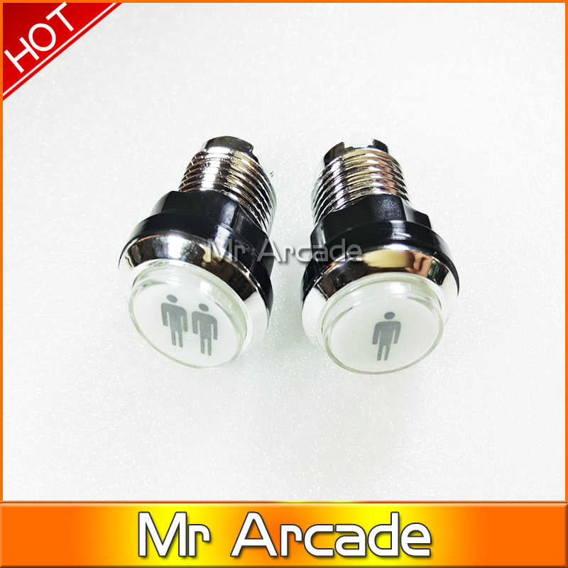 NEW ARRIVE CHROME Plated illuminated 12v LED Arcade Push Button with microswitch player 1 and 2