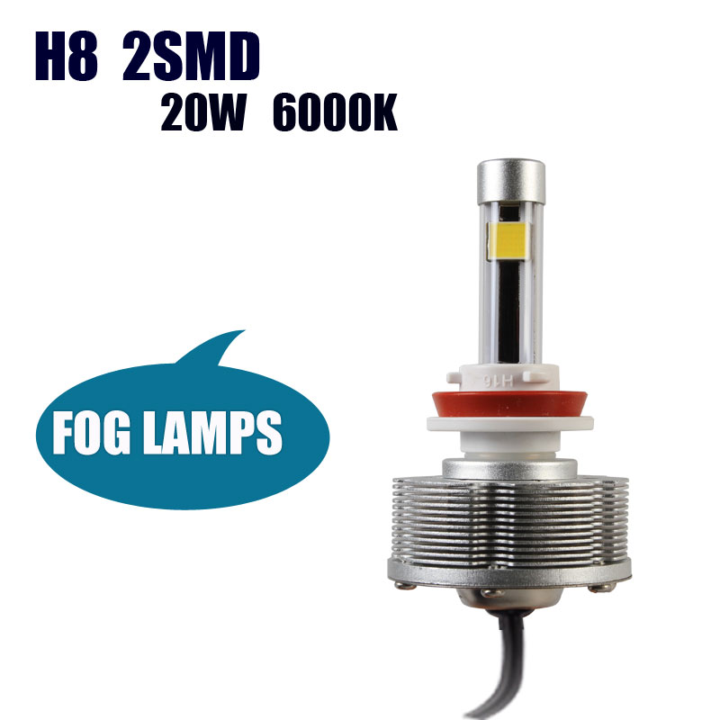 High Power Auto H8 LED Car Bulbs Source Light Fog Lamps H8 Led Conversion Kit 6000K 20W 2400LM white Lights 36V LED Lamp